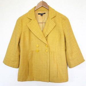 Chadwicks Mustard Blazer 3/4 sleeve tweed style 8